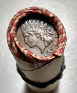 ONE LINCOLN CENT PENNY ROLL AU 1899 INDIAN HEAD CENT / AU LINCOLN CENT REV SIDE