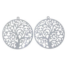 2 pieces Pendants Dangle Charms Stainless steel TREE jewelry findings DIY S91