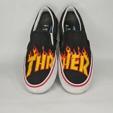 Vans X Thrasher Slip On Pro Black 721454 Men's Size 10 Red Yellow Flames