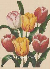Gráfico de punto de Cruz Flores-Tulipanes 414-flowerpower 37-UK -... Gratis Reino Unido P&p..