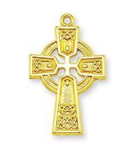 "MRT Gold Over Sterling Silver 1 1/4"" Celtic Cross Pendant Necklace Irish Gift"