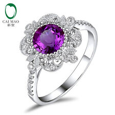 Real Jewelry 14K White Gold 1.04ct Amethyst Natural Diamonds Lovely Ring Wedding