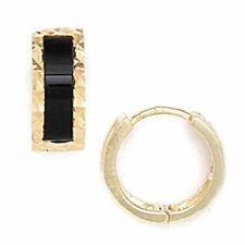 Women/Children Unique 14K Solid Yellow Gold Onyx Huggie Earrings