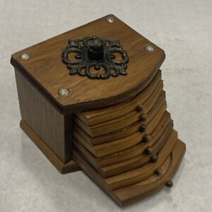 Vintage Wood Cork Drink Coasters 8 Set Wooden Storage Box Holder MCM Mod No Hand
