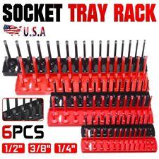 """6pcs Socket Organizer Tray Rack Storage Holder Tool Metric SAE 1/4"""" 3/8"""" 1/2"""""""