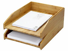 Bamboo Set of 2 Stackable Letter Racks A4 Paper Tray Magazines Holder Sorter