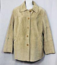 Braetan Women's Coat Plus Size 1X Beige Suede Leather Button Down Jacket Western