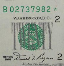 $20 1981 Star Choice UNC Federal Reserve Note B02737982* plain series, FREE SHIP