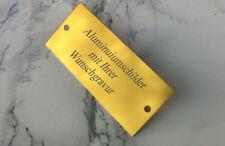 TÜRSCHILD 90x40mm- Alu gold glänzend- Namenschild Gedenkschild- mit WUNSCHGRAVUR