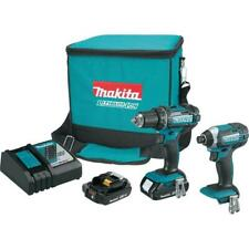 Makita Power Tool Combo Kit 18V Lithium-Ion Cordless Battery Charger Bag 2-Tool