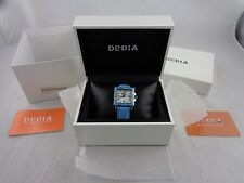 DEDIA Diamond LADIES WATCH Mother of Pearl Dial, Swiss, 30+mm, Blue Leather Band