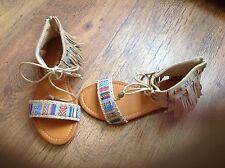 New in box beige tassel sandals size 37