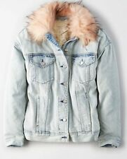 American Eagle Womens Faux Fur Collar Sherpa Lined Light Wash Denim Jacket L NWT