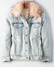American Eagle Womens Faux Fur Collar Sherpa Lined Light Wash Denim Jacket M NWT