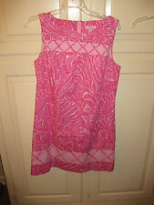 Lilly Pulitzer Sz 10 Pink and White Pattern Cotton Blend Above Knee Shift Dress