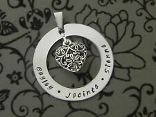 Personalised  Hand Stamped Mothers Gift  Family Names Or Any Wording Pendant