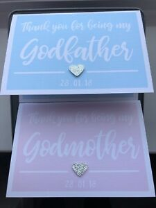 Personalised Thank you Godmother/Godfather + Colour Options Handmade Linen Card