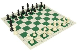 NEW Tournament CHESS Set Basic Plastic Pieces, Vinyl Board ext Queens S1 READ