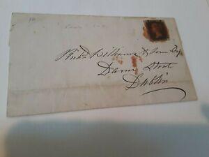 Penny Black Stamp Letter GB UK Nov 1840 Rotherham to Dublin