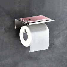 Stainless Steel Self Adhesive Toilet Roll Holder with Phone Shelf Storage Chrome