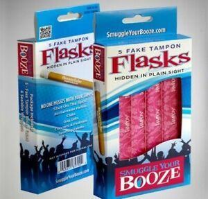 Smuggle Your Booze 5 Tampon Flasks 2 PACK Hidden Secret Liquor Club Party Gift