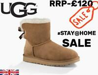 UGG Womens Chestnut Brown Mini Bailey Bow II Boots UK 7.5 Classic Winter Boots