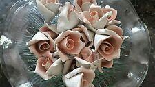 18 Vintage 1960's Porcelain Pink Roses, Italian, Chandelier Parts