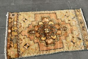 Vintage Hand Knotted Wool Doormat Rug Turkish Oriental Ethnic Carpet 1.9x2.7 ft