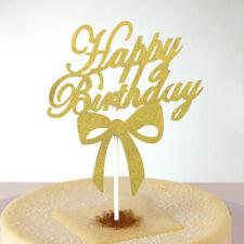 Gold Happy Birthday Glitter Decor Cake Topper Unique Banner Party Decoration