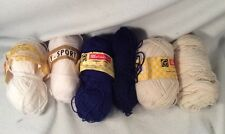 SIX SKEINS - ASST COLORS - POLY SPORT WEIGHT - KNITTING AND CROCHET CRAFT YARN