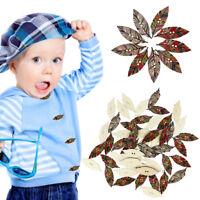 50X/bag 2 Holes Vintage Leaf Retro Leaves Design Wood Sewing Handmade Button
