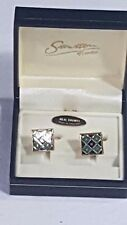 Stratton of London Cufflinks Boxed Enamelled Design Green & Blue Gold Lined No16