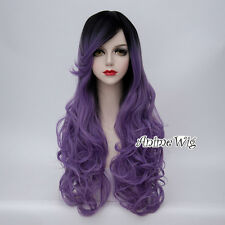 70CM Lolita Black Mixed Purple Curly Long Women Party Cosplay Wig Heat Resistant