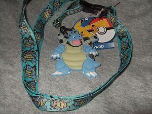 Nwt Pokemon  blastoise Lanyard Keychain Detachable & Rubber Charm Anime Nintendo