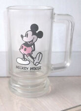 "Vintage Disney Mickey Mouse Tall Glass Beer Stein Mug 5 1/2"" D Handle Rare"