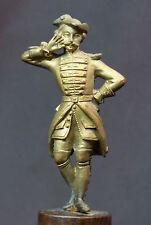 B 18èm jolie statuette statue bronze doré 18cm335g jeune militaire romantique