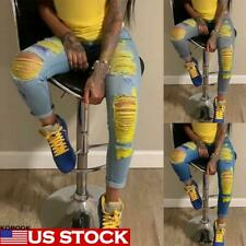 Women High Waist Ripped Skinny Casual Jeans Ladies Denim Pants Trousers Size