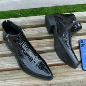 Mens Stone Pattern Real Patent Leather Double Zipper Ankle Boots Shoes British