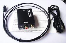 DAC Digital Toslink SPDIF Koaxial zu Analog RCA Audio Konverter Wandler+Kabel