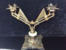 New listing Art Deco Double Metal Lamp Base w/ Jade Glass