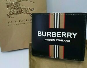 Burberry Bifold Wallet Leather Icon Stripe Black Men New 100% Genuine