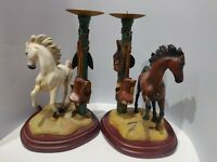 """Danbury Mint Pair of Horse CandleSticks Candle Holder 10"""" Tall 7"""" at base"""