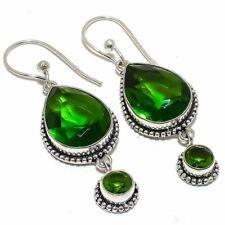 "Ethnic Earring Jewelry 2.2"" F235830 Tsavorite Quartz & Peridot Gemstone"