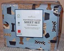 NEW Dogs QUEEN Sheet Set 100% Cotton Heavyweight Flannel Bones PUPPIES Blue WARM