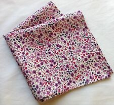 Mauve delicate flowers Liberty of London silk pocket square