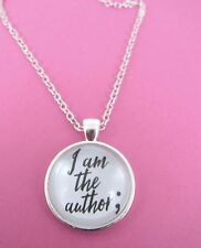 Semi Colon I Am The Author Silver Necklace New Gift Bag Mental Health Awareness