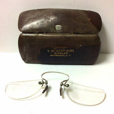 Antique Pince-nez Glasses USA 1800s Original Metal Case T.W. Morrison NY RARE