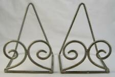 2 Silver Painted Metal Display Easel Plate Stands Scroll Curve Ends Square (O)