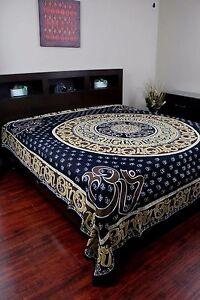Handmade Cotton Mandala Om Print Tapestry Throw Coverlet Spread Bedsheet Queen
