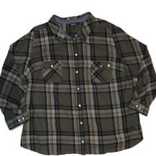 Ulla Popken Shirt Sz 24 26 Button Plaid Top Flannel Long Sleeves Green Black